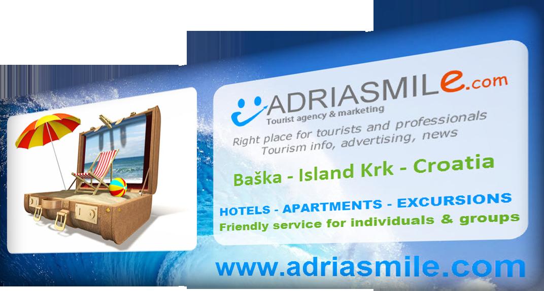 ADRIASMILE Tourist agency & marketing, Baška – Island Krk – Croatia